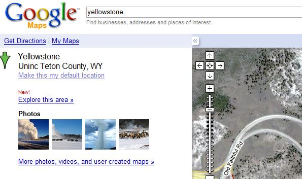 Yellowstone Map Search