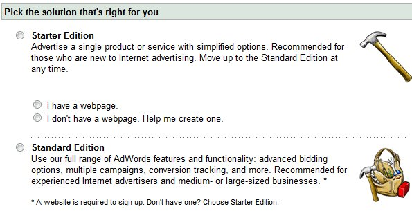 Adwords Starter Edition Choice