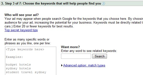 Google Getting Started Keyword Tool